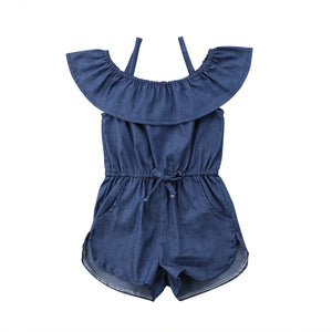 Girl Baby Girl Stylish Denim Romper