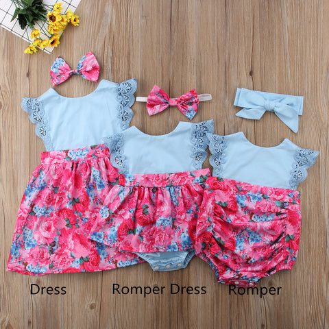 Girl Baby Girl Blue And Rose Romper Dress