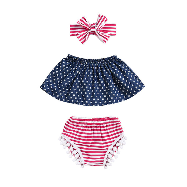 Girl Baby Girl Stars And Polka Dot USA Set