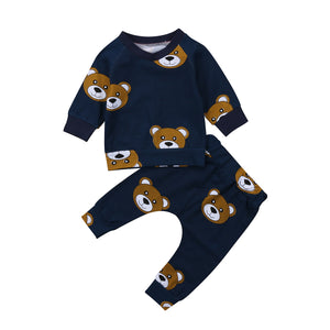 Kids Baby Boy Girl Fashion Dark Bear Set