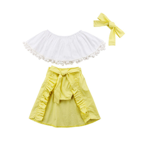 Girl Baby Girl White Tail Skirt Set