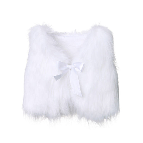 Girl Baby Girl White Fashion Faux Fur