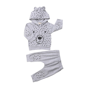 Kids Baby Boy Girl Grey Hooded Set Bear