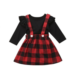 Girl Baby Girl Winter Black Red Skirt Set