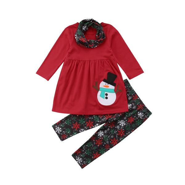 Girl Baby Girl Xmas Snowman Red Dress Set