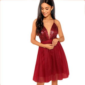 Burgundy Party Backless Mesh Dress