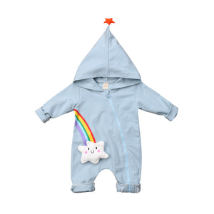 Baby Boy Girl Blue Rainbow Winter Star Romper