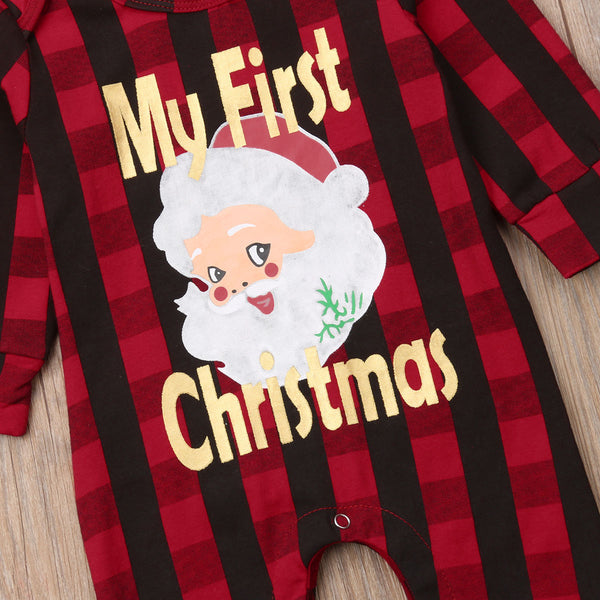 Baby Boy Girl My First Xmas Plaid Red Set