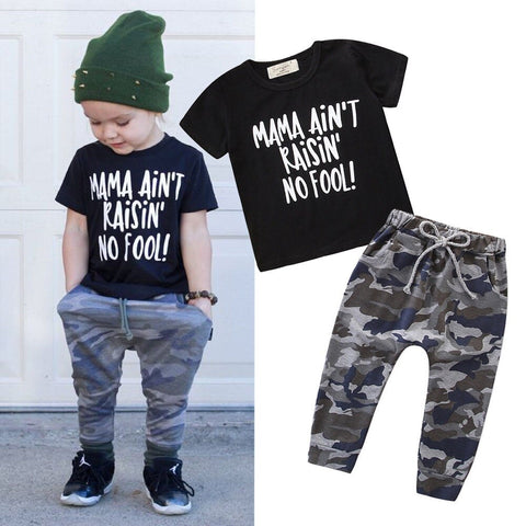 Boy Baby Boy Mama Letters Tops Set