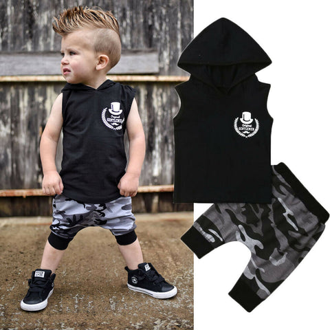 Boy Baby Boy Cool Sleeveless Hoodie Set