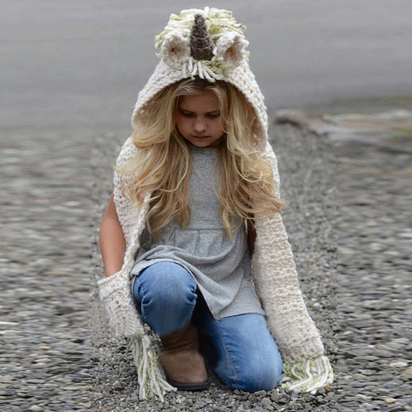 Girl Baby Girl Trendy Unicorn Hooded Scarf
