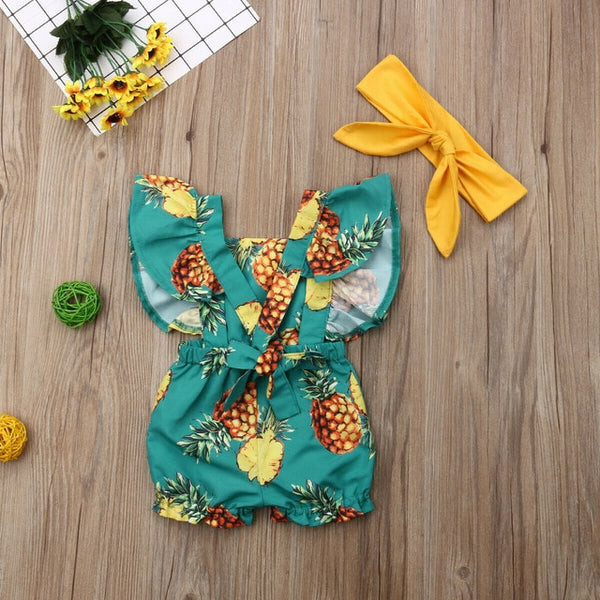 Girl Baby Girl Pineapple Jumpsuit Set