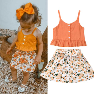 Girl Baby Girl Stylish Orange Sling Tops Skirt Set