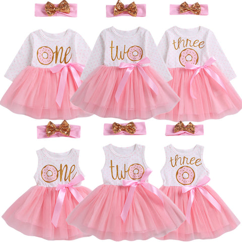 Girl Baby Girl Birthday Donut Dress Set