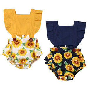 Sunshine Baby Girls Summer Sunflower Jumpsuit