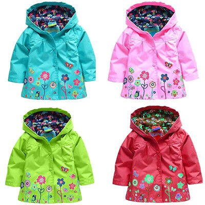 Kid Girl Flowers long sleeve Hoodie Raincoat