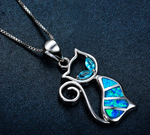 Sterling Silver Blue Opal Cat Necklace