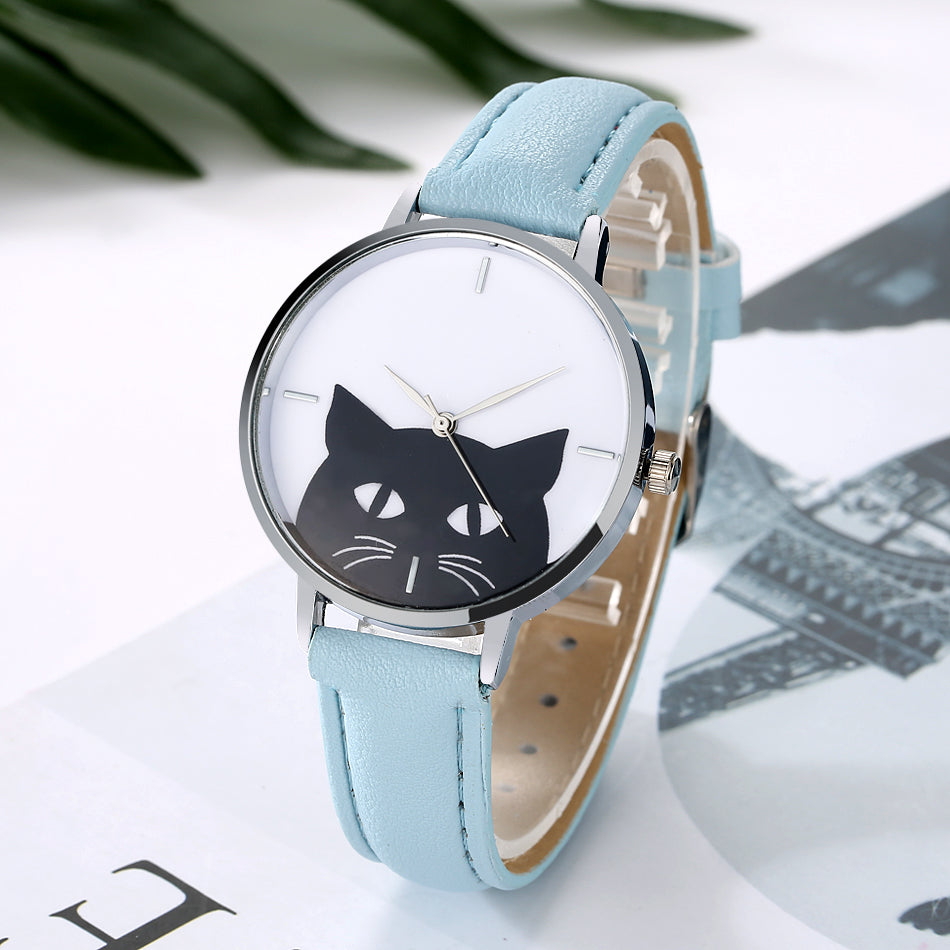 Cute Women Cat Watch Luxury Brand