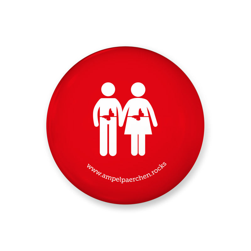Needle button - Let's feel red together! Man-Woman