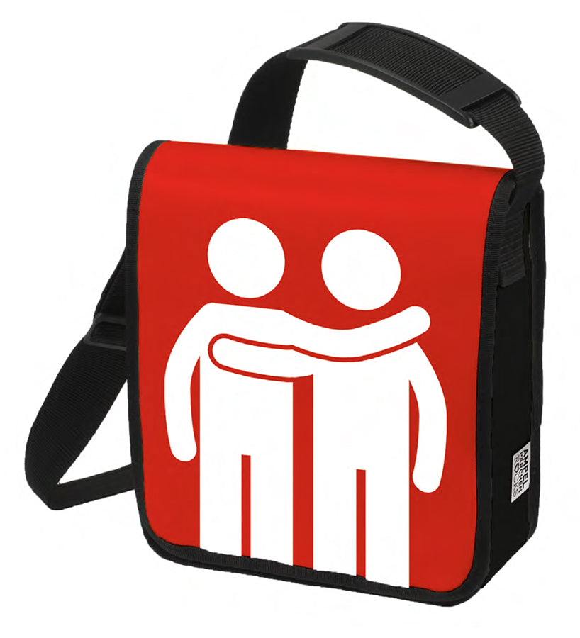 Red statement shoulder bag, male traffic light couple