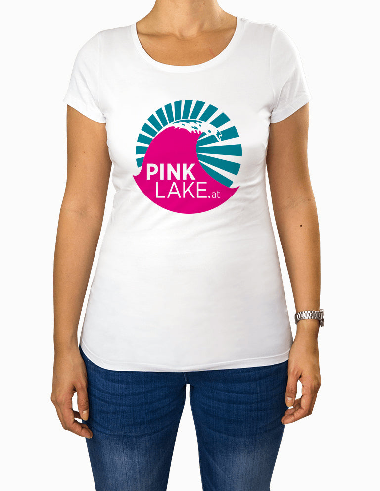 "Damen T-Shirt ""Pink Lake"" weiß"