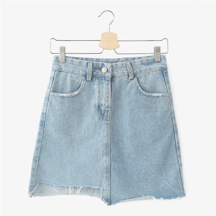 Denim Irregular Short Skirt