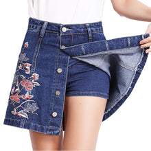 Floral Embroidery Denim Mini