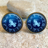 Capricorn Zodiac Star Sign Glass Dome Round Cabochon Cuff Links Gift UK