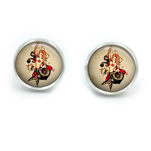 Sailor Jerry Earrings| Nautical Earrings| Rockabilly Earrings| Sailor Jerry| Retro Tattoo| Pinup earrings| gift for her| gift for wife|07