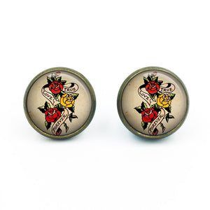 Sailor Jerry Earrings| Nautical Earrings| Rockabilly Earrings| Sailor Jerry| Retro Tattoo| Pinup earrings| gift for her| gift for wife|16