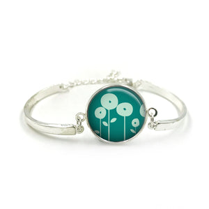 Flower Bracelet Bangle| Silver Bracelet| Aqua Jewellery| Dandelion jewelry| Flower Lover| Bauble Aqua gifts| gift for wife| Gift for Her 4