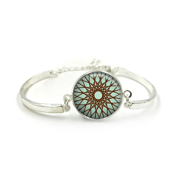 Mandala Bracelet Bangle| Silver Bracelet| Aqua Bangle| Mandala jewelry| Mandala Bangle| gift for wife| Aqua colour gifts| Gift for Her 6