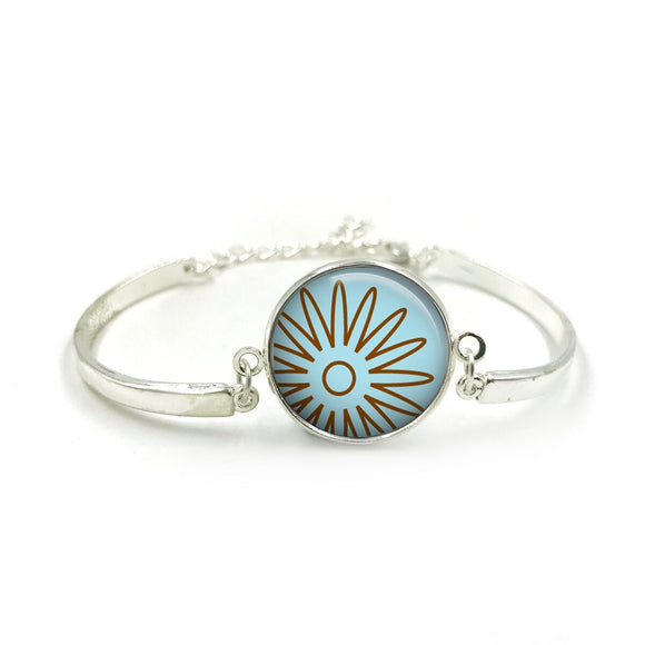 Flower Bracelet Bangle| Silver Bracelet| Aqua Jewellery| Flower jewelry| Flower Lover| Bauble Aqua gifts| gift for wife| Gift for Her 9