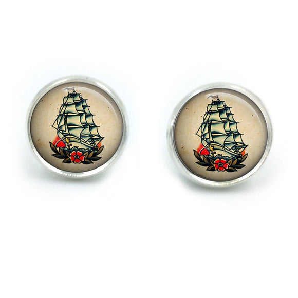 Sailor Jerry Earrings| Nautical Earrings| Rockabilly Earrings| Sailor Jerry| Retro Tattoo| Pinup earrings| gift for her| gift for wife|06