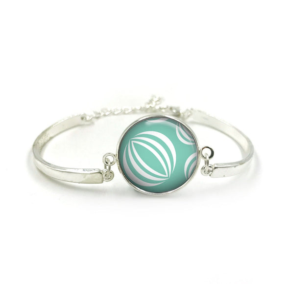 Bauble Bracelet Bangle| Silver Bracelet| Aqua Jewellery| Bauble jewelry| Flower Lover| gift for wife|Bauble Aqua colour gifts|Gift for Her 3