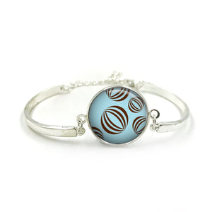 Bauble Bracelet Bangle| Silver Bracelet| Aqua Jewellery| Bauble jewelry| Flower Lover| gift for wife|Bauble Aqua colour gifts|Gift for Her 5