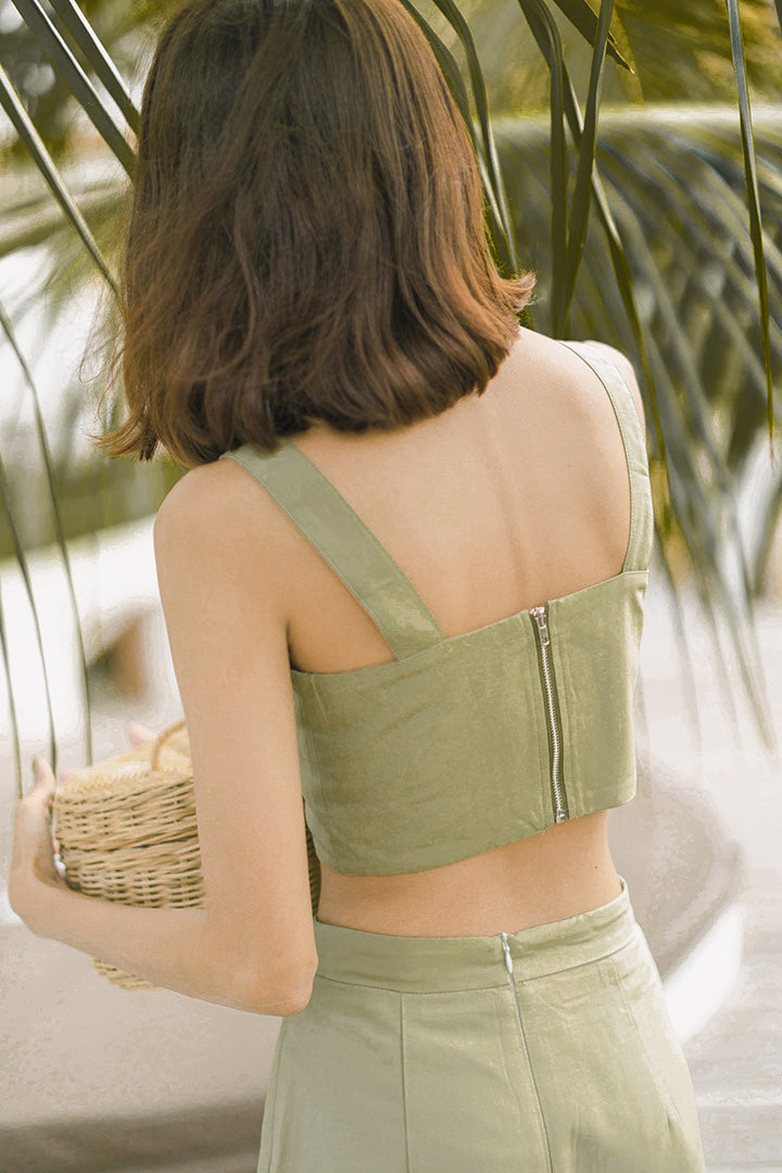 AKILA BUCKLE CROP TOP (OLIVE)