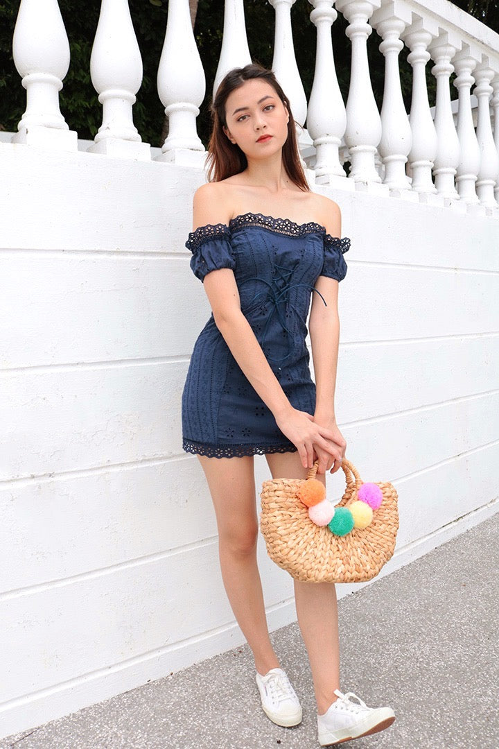 OLIVIA EYELET CROCHET OFF-S DRESS (NAVY)
