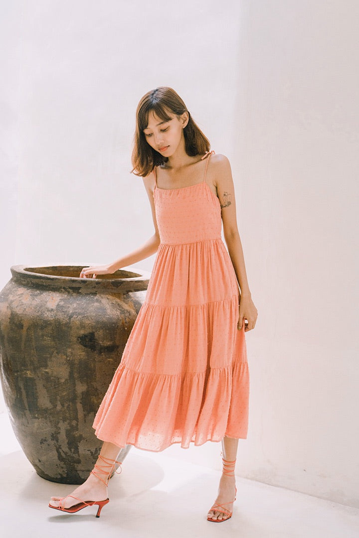 SWISS DOT SWIRL MIDI DRESS (TEA ROSE)