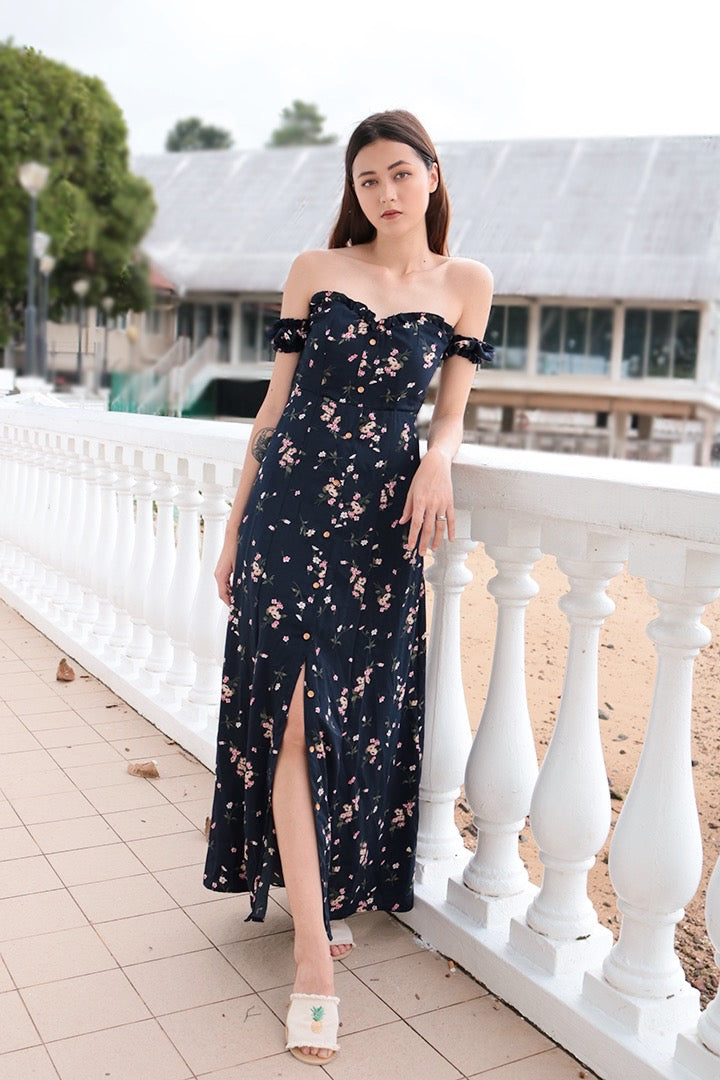 WILDCHILD FLORA SLIT MAXI DRESS (NAVY)