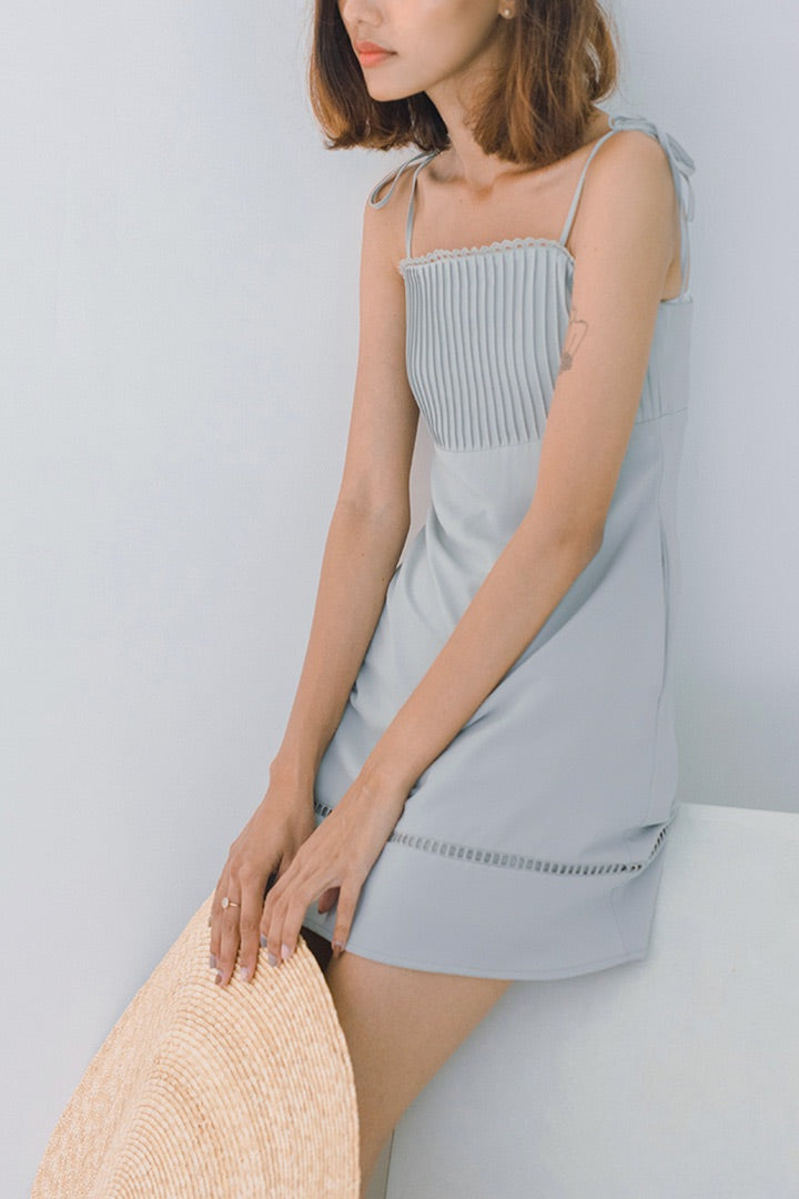 ROME PLEATED CAMI DRESS (SEAFOAM) *LAST PC*
