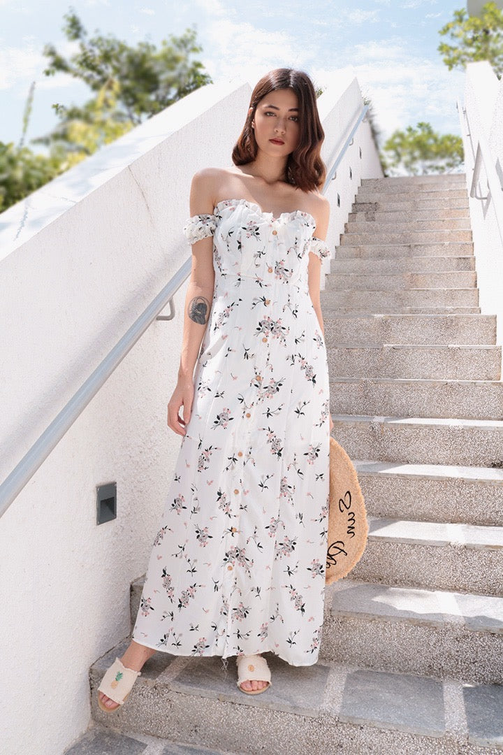 WILDCHILD FLORA SLIT MAXI DRESS (WHITE)
