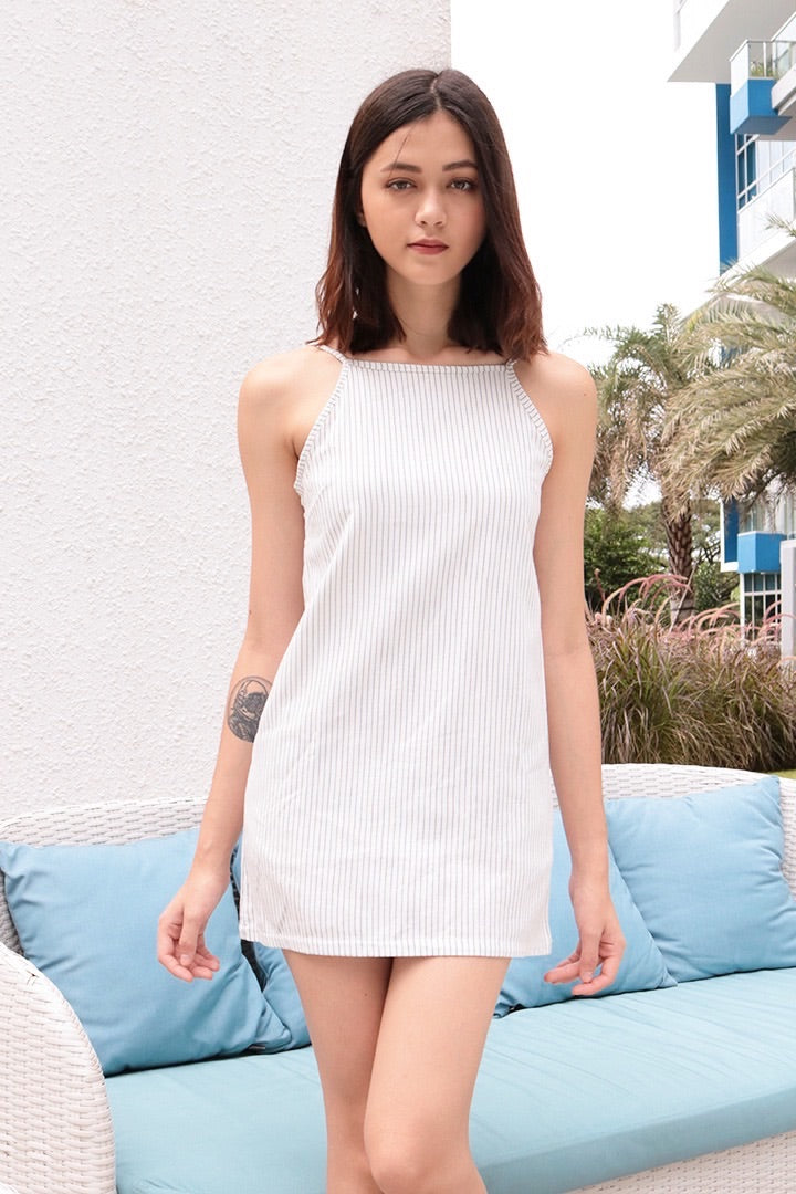 PINSTRIPES SHIFT DRESS (WHITE)
