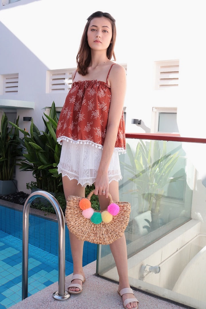 PRINTED POM POM CAMI TOP (RUST)
