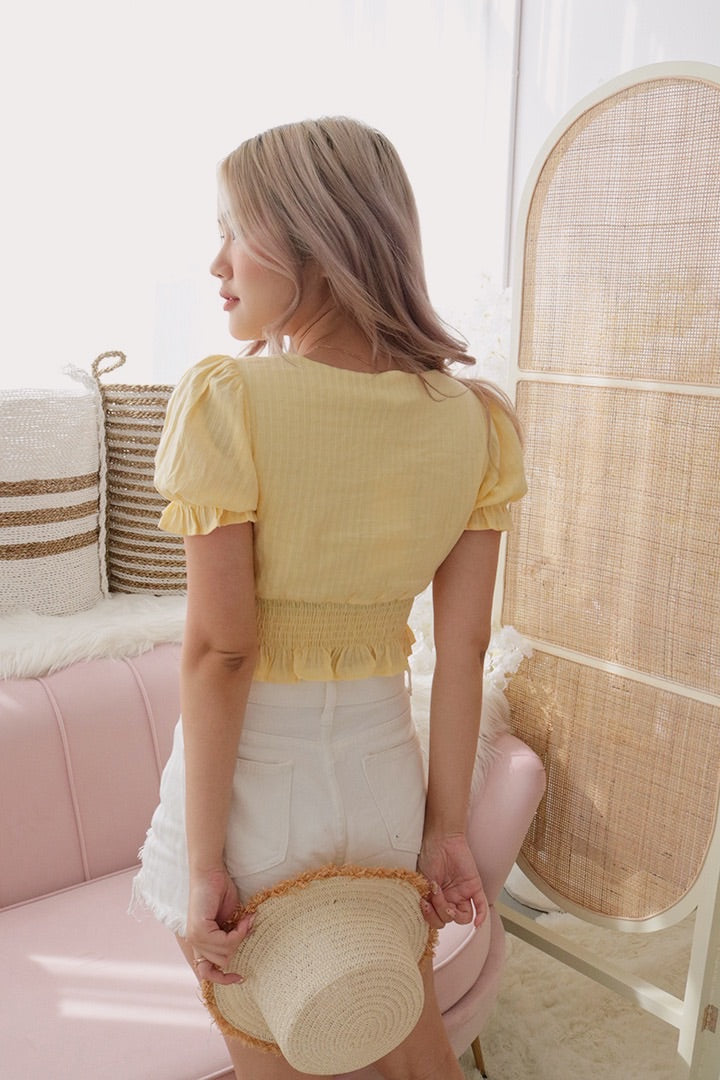 WANDERER EYELET CUBE TOP (PALE YELLOW)
