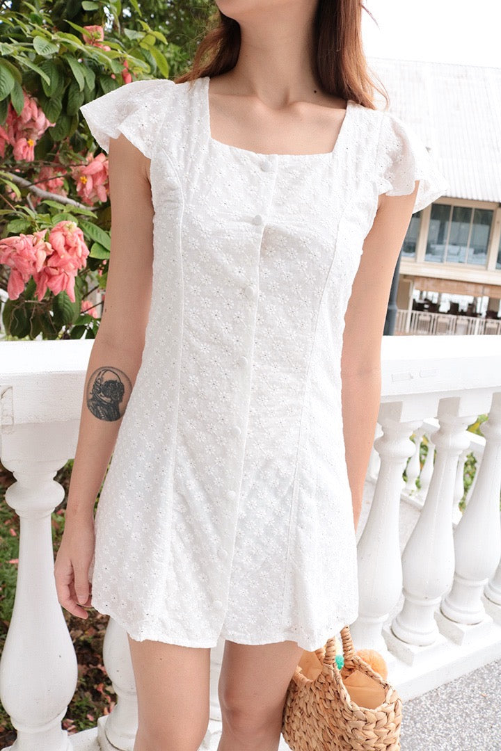 ARIYA EYELET BUTTON DOWN DRESS
