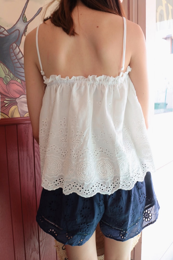LUCILE EYELET CAMI TOP (WHITE)