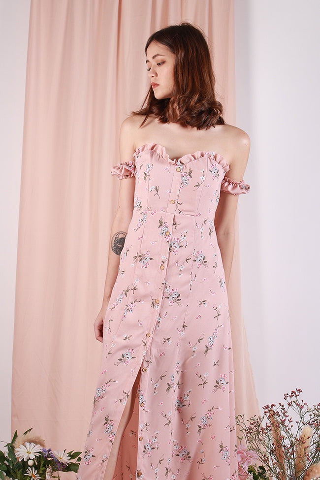 WILDCHILD FLORA SLIT MAXI DRESS (BLUSH)