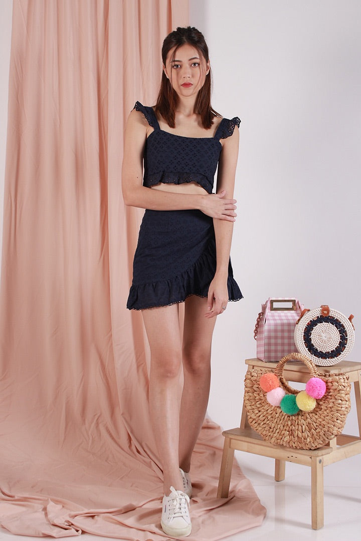 KERIIA EYELET WRAP SKIRT (NAVY)