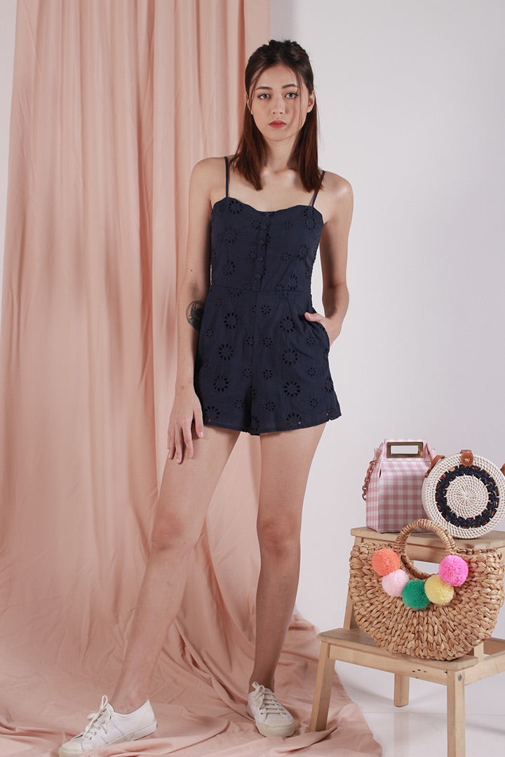 MOONCHILD BOW PLAYSUIT (NAVY)